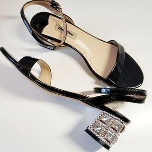 MIU MIU Prada Crystals Jeweled Heel Patent Leather